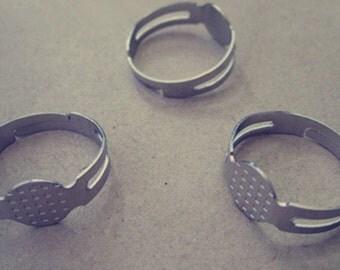 20 pcs White K ( 8mm ) adjustable ring bases