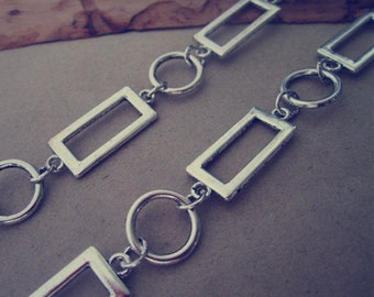 3.28ft   antique silver graphics Metal Chain