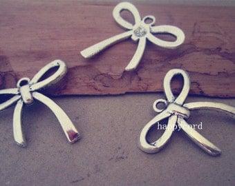 20pcs Antique silver bowknot  Charms pendant  24mmx25mm