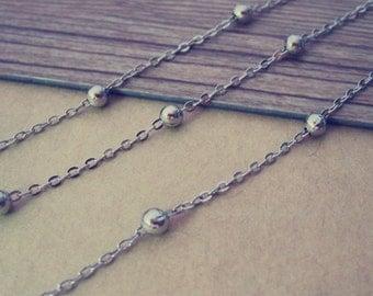 16ft  3mm White K bright bead pendant chains