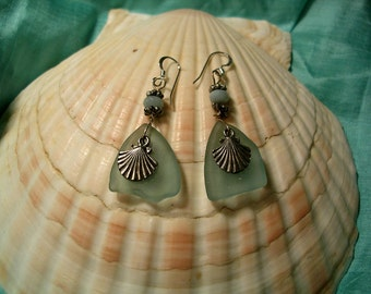 Hand Made Sea Glass Earrings with Sterling Silver French Hooks.