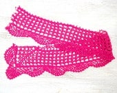 Pink fuchsia hand dyed Crochet Trim cut from vintage crochet tablecloth
