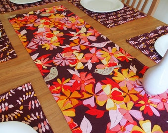 Linen Table Runner, Tropical Centerpiece Runner with Birds and Flowers, Eggplant/Aubergine, Pink, Orange, Reversible, Valori Wells Jenaveve