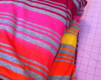 Sunset ombre and gray striped knit