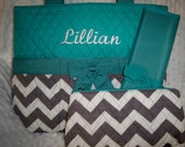 PERSONALIZED 3 Piece Chevron Diaper Bag Set with Name - Baby Boy or Girl Turquoise Chevron Personalized Diaper Bag, Pouch, and Changing Pad