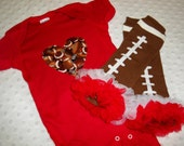 Baby Girl Football Bodysuit - Baby Girl Red and Brown Football Bodysuit & Ruffle Leg Warmers - Football Heart Baby Girl Outfit Bodysuit