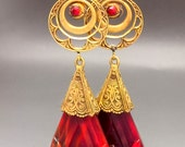 Vintage CZECH Deep Red and Gold Swirled Art glass Drop STATEMENT EARRINGS