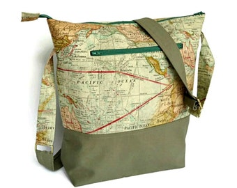 World Map Crossbody Bag, Over the Shoulder Adjustable Zippered Fabric Tote, Canvas Fabic Purse, Vegan Travel Handbag