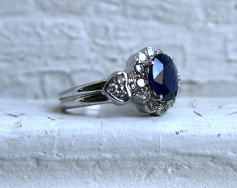 Vintage 14K White Gold Diamond Halo and Sapphire Engagement Ring - 2.69ct.