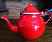 Vintage French red enamel tea pot