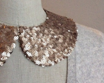 NEW COLOR: Bronze Sequin Peter Pan Collar Necklace with Jewelry Closure Back