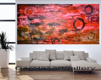"48""  Original Abstract Painting Neon Painting Palette Knife  Acrylic Painting Modern Art Handmade  by Carola, 48""x24"""