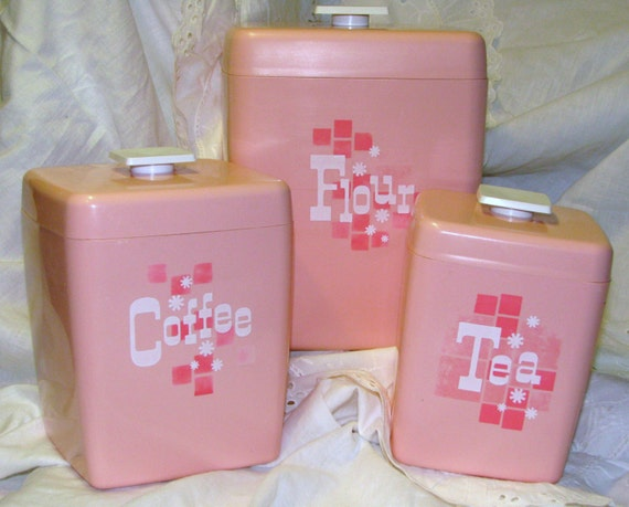 retro vintage pink plastic kitchen canister set