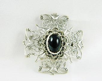 Brooch, Pin, Black, Glass, Stone, Cross, Filigree, Antique Silver