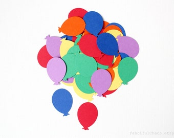 50 Primary Balloon Die cuts punches cardstock 1 inch -Scrapbook, cards, embellishment, confetti, table decoration