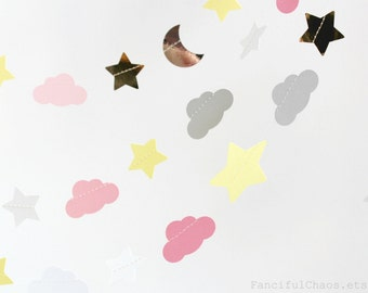 Silver, Gold, Pink, White, Yellow, Grey 10 ft Moon Star Cloud Paper Garland- Birthday, Baby Shower, Baby Girl Party Decorations