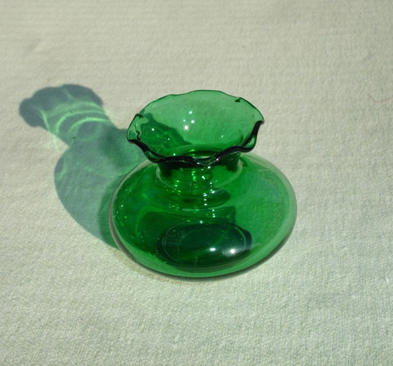 Antique Small Green Depression Glass Vase