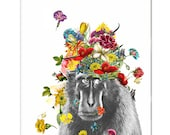 Mixed media Decorative art Animal painting drawing illustration portrait  print POSTER 8x10 -Gorilla in the Garden