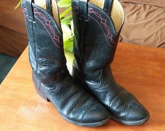 Vintage Black with Red Trim Nocona Men's Cowboy Boots