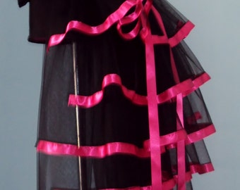 Black Hot Pink Burlesque Steampunk Bustle Belt size US 2 4 6 8  10 UK 6 8 10 12 14