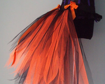 Burlesque Black  Orange Bustle Tutu Belt US 4 10 UK 6 12 Halloween Party