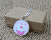 Personalized Cupcake Pendant Art Necklace Glass Dome Cup Cake