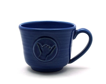 Shaka Coffee Mug: Cobalt Blue Hang Loose Ceramic Tea Cup, Hawaii Surfer Gifts, Pottery Husband Gift for Him - Made to Order in 3-4 Weeks