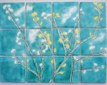 12 Spring flower ceramic tiles, kitchen bathroom turquoise, yellow, white MADE TO ORDER