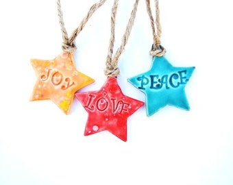 Stars Love Joy Peace Christmas decorations, ceramic decor, holiday ornaments luxury gift tags Orange Red Turquoise