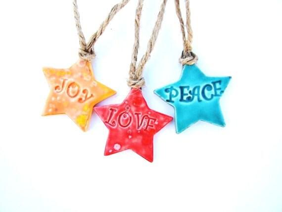 Stars Love Joy Peace Christmas Decorations Ceramic Decor