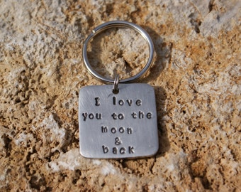 """Pewter 1""""x1"""" square handstamped """"I love you to the moon & back"""" keychain"""