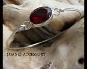 Silver Bangle Bracelet - Silver Jewlery - Stacking Bangle Bracelet  - Garnet Gemstone Bracelet - Wedding Jewelry