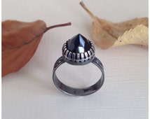 Sale Faceted Black Spinel Ring Handmade Sterling Silver Patterned Band Dark Gothic Style