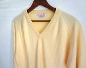 Yellow 50s Sweater vintage Women V Neck XL Large Oversized LIKE NEW