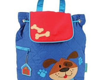 Personalized Stephen Joseph Quilted Dog Backpack, Diaper Bag, Toddler Backpack, Overnight Bag with FREE Embroidery