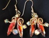 Amber Orange Blue Tear Drop Vintage Pierced Earrings