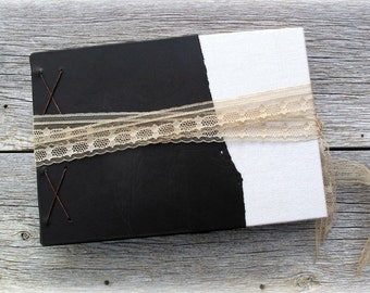 "Rustic Guest Book, Tea Stained Pages, Antique Materials -- Coptic Stitch -- 8"" x 5 1/2"""