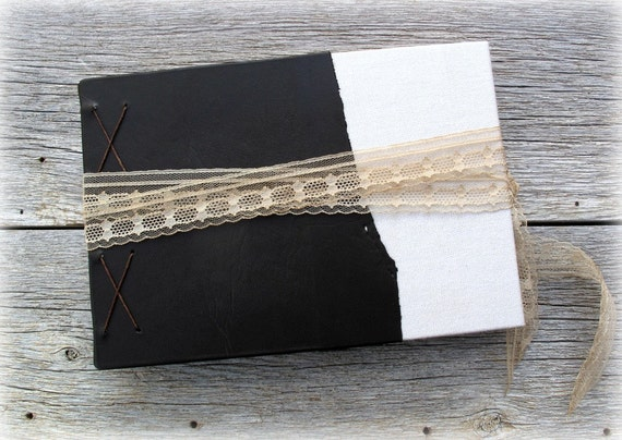 """Rustic Guest Book, Tea Stained Pages, Antique Materials -- Coptic Stitch -- 8"""" x 5 1/2"""""""