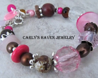 brown, pink, and silver chunky beaded bracelet, brown and pink, pink and brown, ready to ship, handmade, gifts for women, gifts for mom