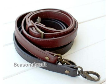 1piece 1.8cm wide PU Leather straps with Brass hardware, 110-128cm adjustable handles (T108)
