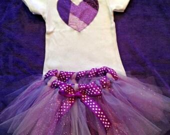 Purple Child's Tutu w/ Heart applique shirt