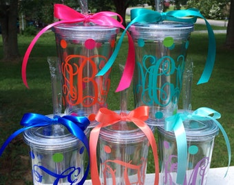 Vine Monogram Tumbler 16 oz Acrylic Cup with Lid and Straw Preppy Personalized Monogram Cup Gift Everything Else