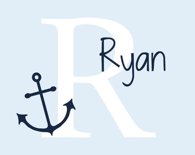 Personalized Anchor Decal Nautical Vinyl Wall Decal Boy Girl Nursery Bedroom Wall Decals Housewares
