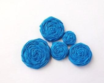 Teal Blue Fabric Rosettes Embellishment