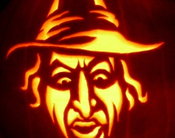 Wicked Witch of the West hand-carved on a foam pumpkin for Halloween decorating