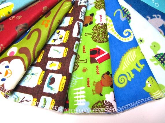 Cloth Napkins, 10 Boy Animal Napkins, Eco-Friendly Kids Napkins, School Lunchbox Napkins