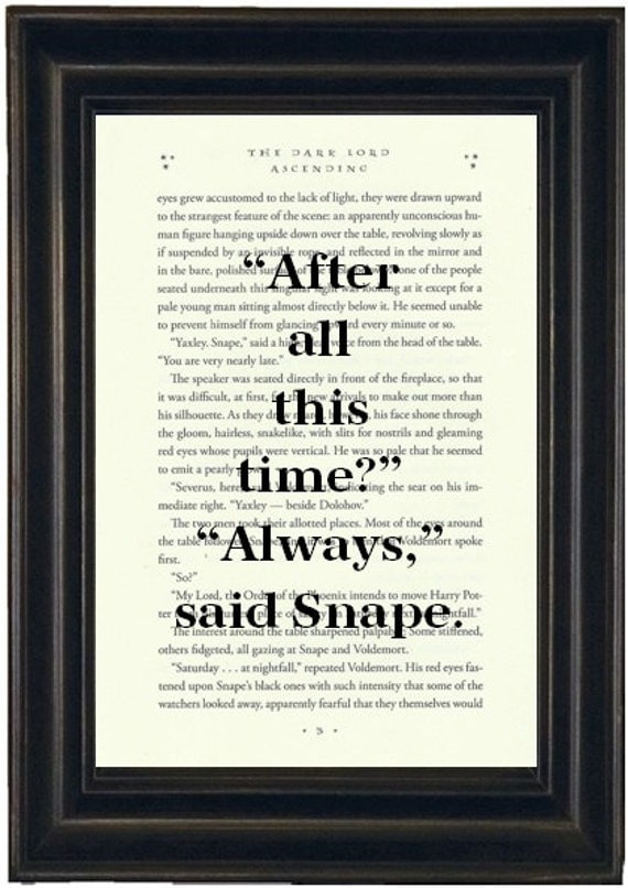 Harry Potter Book Pages ~ Harry potter book print upcycled page always