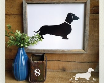 Doxie. 8x10 Art Print -- (Dog, Dachshund, Vintage-Style, Weiner Dog, Birthday Gift, Home Decor, Wall Art, Silhouette, Modern, Black, Simple)