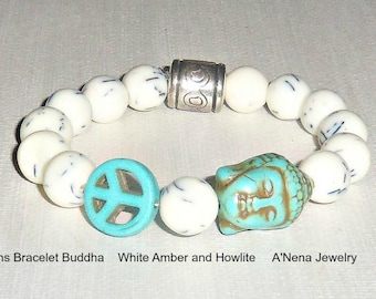 """Bracelet For Men : Amber & Howlite """"Successful, Peaceful"""" By ANena Jewelry"""