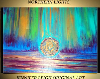 Original Large Abstract Painting Modern Contemporary Canvas Art Gold Turquoise Green NORTHERN LIGHTS 36x24 Palette Knife Texture Oil J.LEIGH